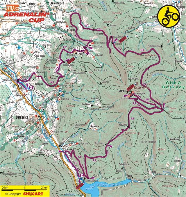 mapa MTB úseku Adranalin Cupu 2010