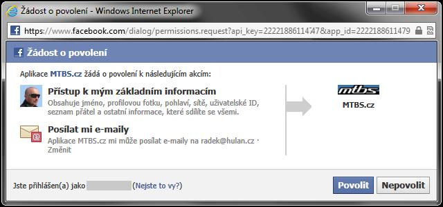 Facebook okno