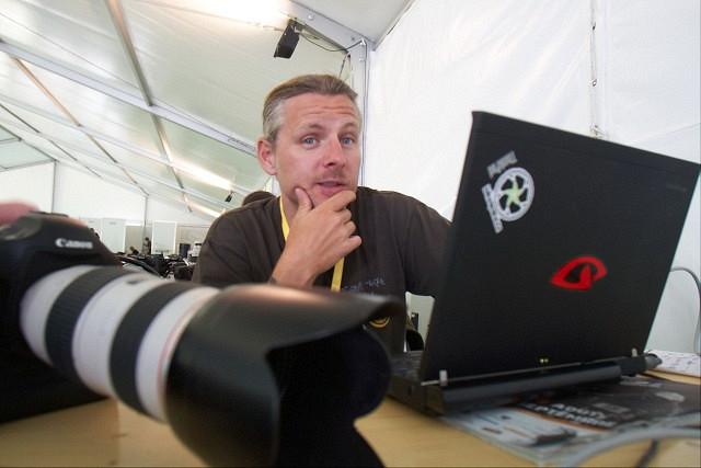 Michal Sváček v tiskovém centru na MS v Champéry