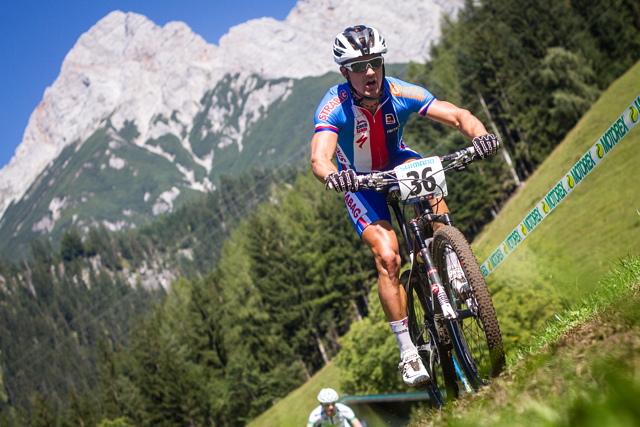Marek Rauchfuss na trati mistrovství světa horských kol v Saalfeldenu 2012