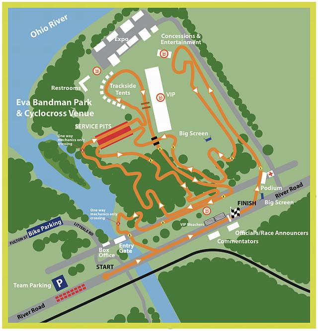 Mapa okruhu mistrovství světa v cyklokrosu 2013 v Louisville