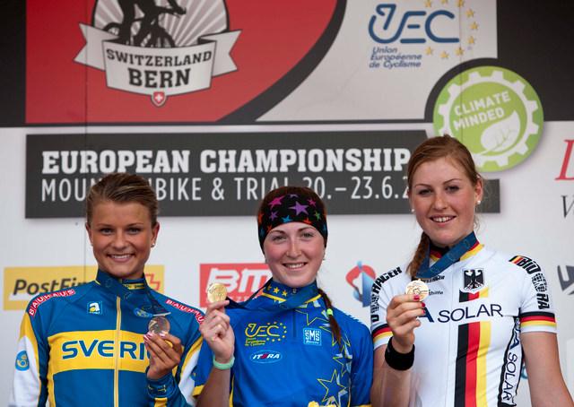 Mistrovství Evropy MTB 2013, Bern - Stupně vítězů ženy U23: 1. Belomoyna, 2. Rissveds, 3. Grober