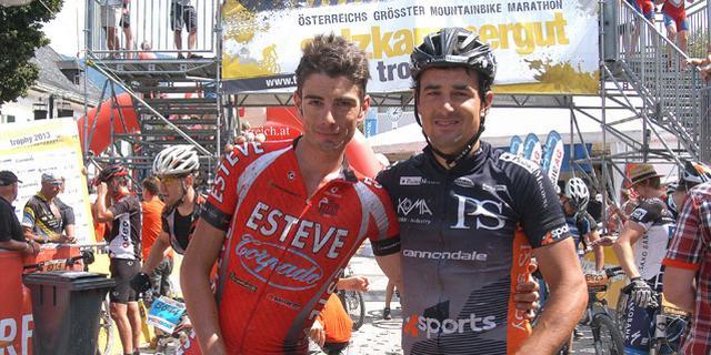 Luis Pinto s Ondřejem Fojtíkem v cíli Salzkammergut Trophy 2013