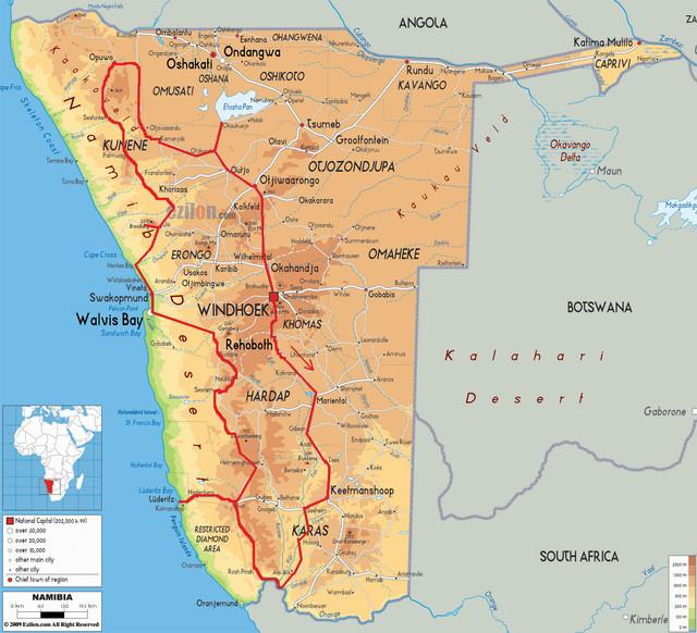 Namibia 2014 - mapa trasy cykloputování Jana Širce a Petra Tomka