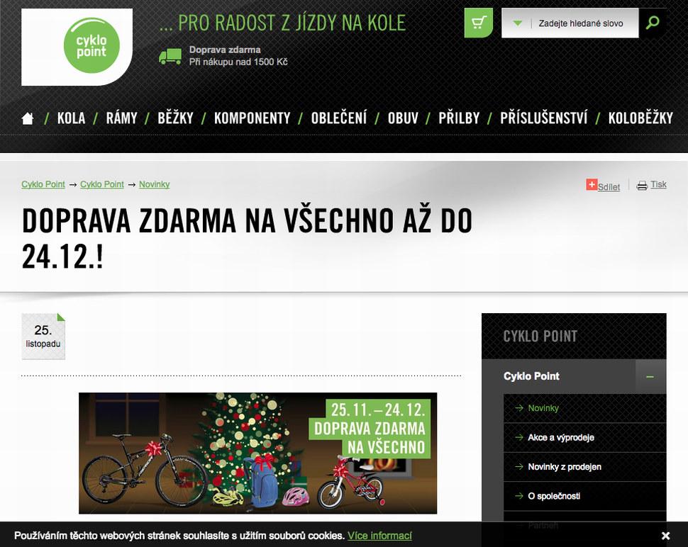 Ode dneška až do Vánoc platí na eshopu Cyklopoint.cz doprava zdarma ca54f669cc