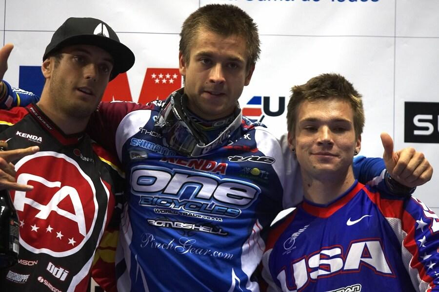 UCI BMX Supercross - Madrid 9.2. 2008 - 1. Matisons (LAT), 2. Willers (NZL), 3. Cisar (USA)