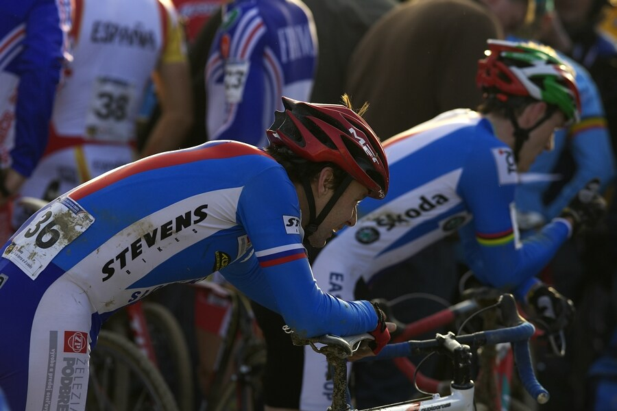 MS cyklokros 2008, Treviso - It�lie 27.1. - Robert Glajza a Kamil Ausbuher v c�li