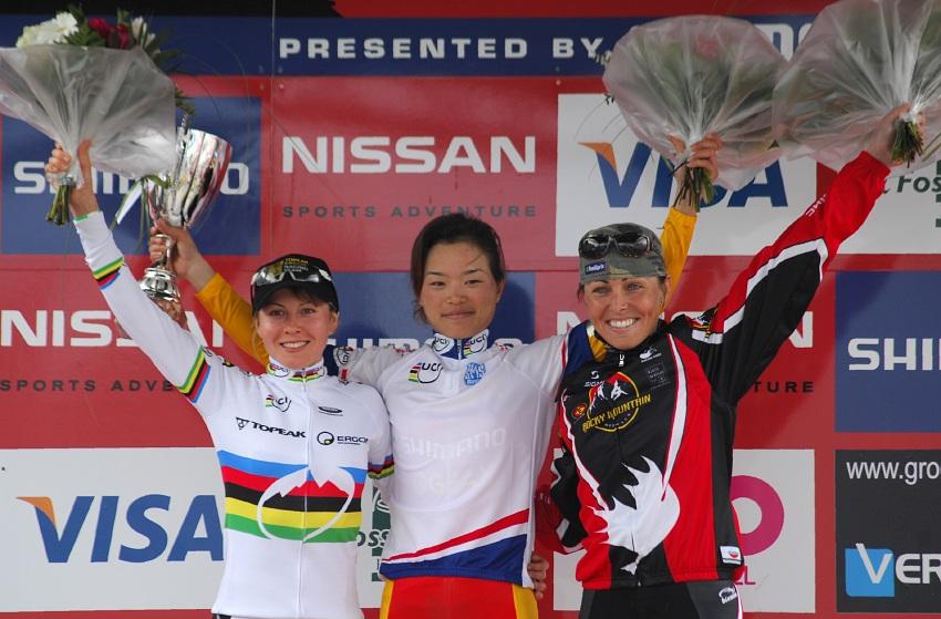 SP XC #1 2008 Houffalize - ženy: 1. Chengyuan, 2. Kalentieva, 3. Premont