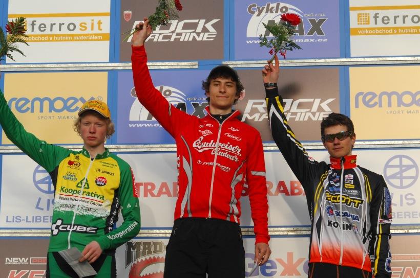 �P XC #1 Pardubice 2008 - junio�i: 1. Adel, 2. Nesvadba, 3. Rajchart