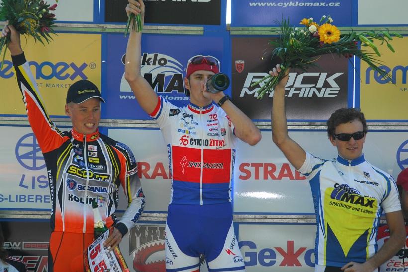 Český pohár XC Teplice, 8.5.2008 - elite: 1. Kulhavý, 2. Eberl, 3. Škarnitzl