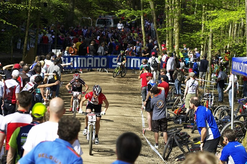 Nissan UCI MTB World Cup XC #2 - Offenburg 27.4.2008 - Marie Helene Premont s Margou Fullanou v pat�ch