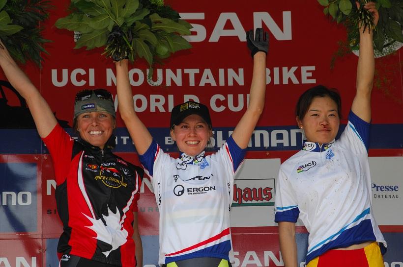 SP XC #2 2008 Offenburg - nejlepší ženy (1. Kalentieva, 2. Premont, 3. Chengyuan)