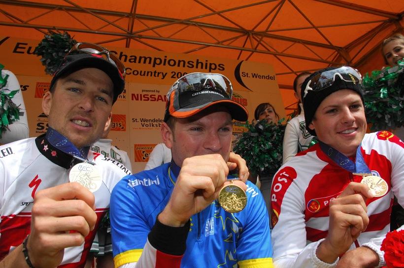 ME XC 2008 St. Wendel - muži Elite: 1. Vogel, 2. Sauser, 3. Fuglsang