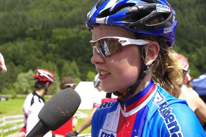 UCI MTB World Championship 2008 - Val di Sole/ITA - 18.6. - Jana Valešová při rozhovoru pro MTBS