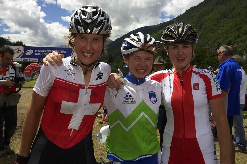 UCI MTB World Championship 2008 - Val di Sole/ITA - 18.6. - trio nejlepších, zleva: Schneitter, Zakelj a Dawidowicz