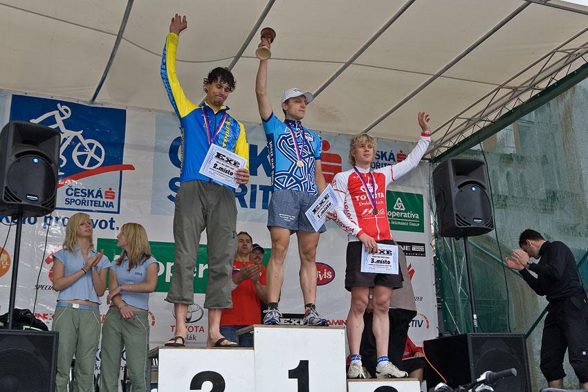 Kolo pro život/český pohár 1/2 XCM - 7.6. 2008 Jistebnice - muži 19-29: 1. Galandák, 2. Kugler, 3. Šustek