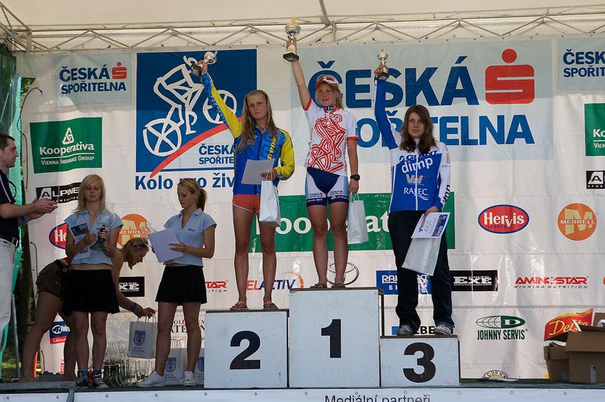 Kolo pro život - Příbramský permoník české spořitelny - 31.5. 2008 - juniorky: 1. Valešová, 2. Jarošová, Vaňková