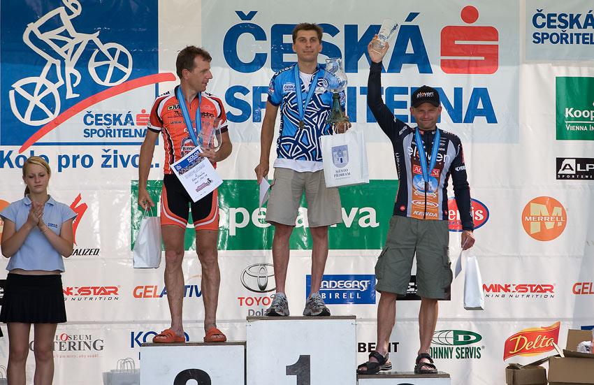 Kolo pro život - Příbramský permoník české spořitelny - 31.5. 2008 - muži 40-49: 1. Kunčický, 2. Šimera, 3. Blažek