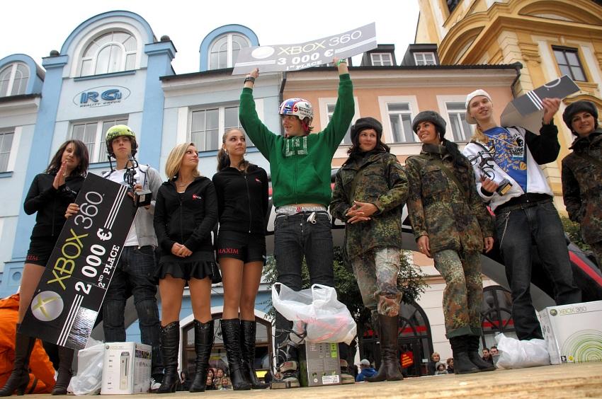 XBox 360 Slopestyle Písek '08: 1.Zejda, 2.Oboukowicz, 3.Kamidra