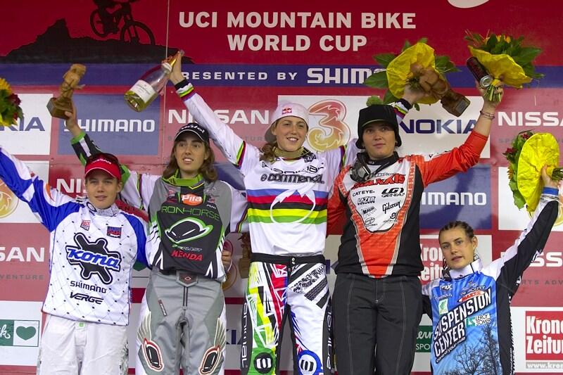 Nissan UCI MTB World Cup DH #7, Schladming 13.9. 2009 - 1. Atherton, 2. Pugin, Jonier, 4. Moseley, 5. Ragot