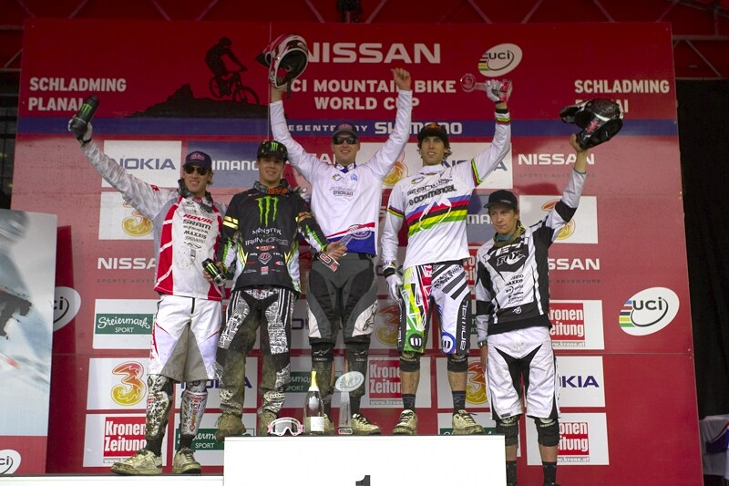 Nissan UCI MTB World Cup DH #7, Schladming 13.9. 2009 - celkov� po�ad� SP: 1. Minaar, 2. Hill, 3. Atherton, 4. Peat, 5. Blenkinsop