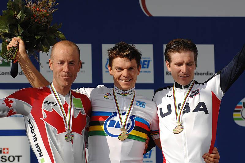 Mistrovství světa na silnici 2008, Varese/ITA - časovka mužů 1. Grabsch, 2. Tuft, 3. Zabriskie,  foto: Frank Bodenmüller/MTBSector.com