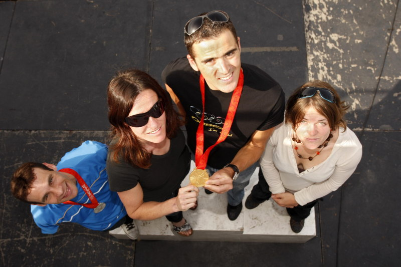 Roc d'Azur 2008 - Frejus/FRA - jedním z největších momentů festivalu - setkání medailistů z OH - Peraud, Chausson, Absalon a Le Corguillé