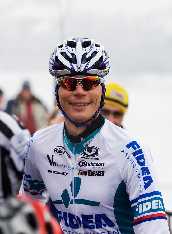 Mistrovství ČR cyklokros - Kolín 10.1. 2009 - stále se usmívající Petr Dlask, foto: Miloš Lubas