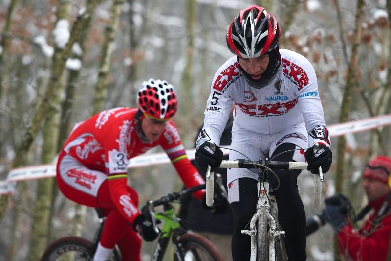 Mistrovství ČR cyklokros - Kolín 10.1. 2009 - Kamil Ausbuher a Martin Bína