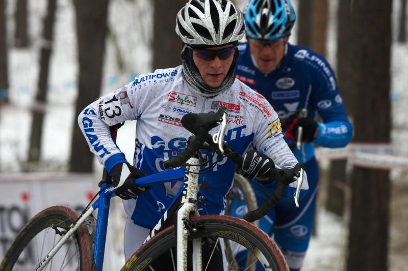 Mistrovství ČR cyklokros - Kolín 10.1. 2009 - Jan Škarnitzl a Václav Ježek