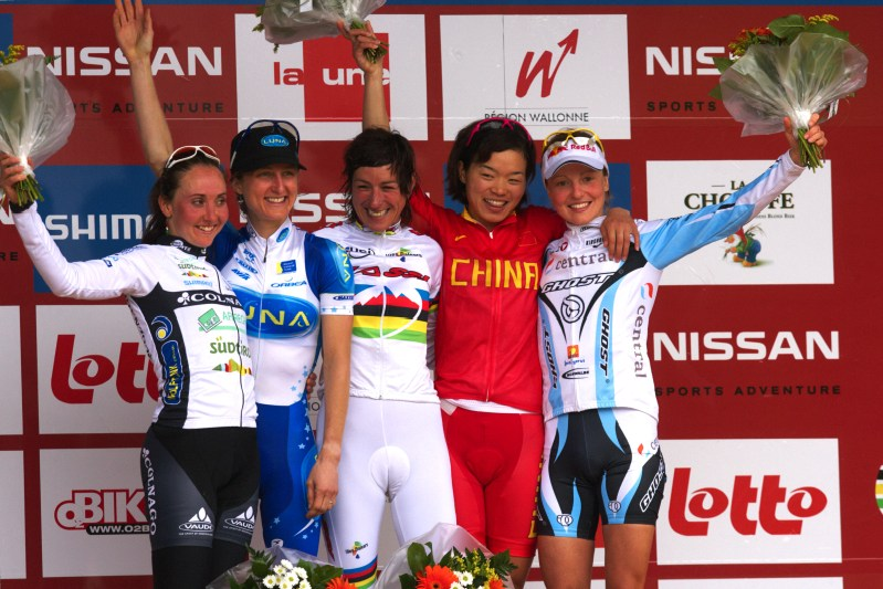 Nissan UCI MTB World Cup XC #3 - Houffalize 2.-3.5. 2009 - ženy: 1: Fullana, 2. Pendrel, 3. Chengyuan, 4. Lechner, 5. Osl