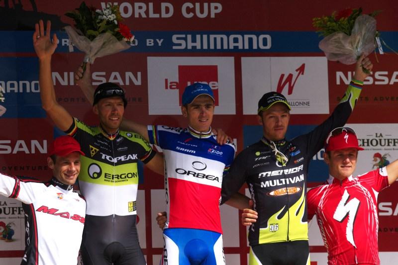 Nissan UCI MTB World Cup XC #3 - Houffalize 2.-3.5. 2009 - muži: 1. Absalon, 2. Kurschat, 3. Näf, 4. Peraud, 5. Stander