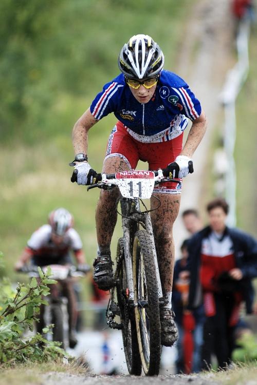 Mistrovství Evropy MTB XC 2009 - Zoetermeer /NED/ - juniorky & junioři: Pauline Farrand Prevot ve vedení
