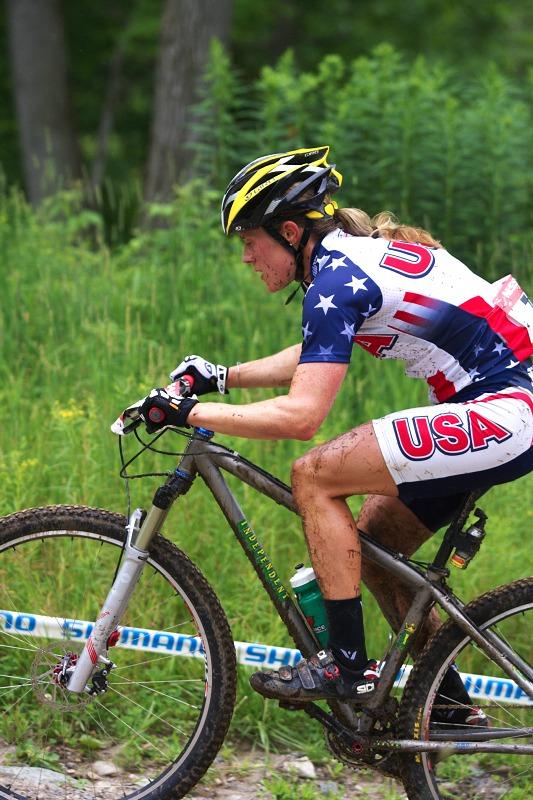 Nissan UCI MTB World Cup XCO #6 - Bromont /KAN/ 2.8. 2009 - cyklokrosařka Katie Compton na 29' dokončila šestá