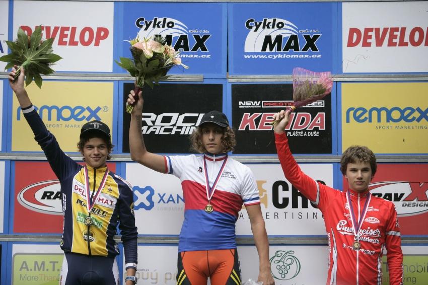 Mistrovství ČR MTB XC 2009 - Karlovy Vary: kadeti - 1. Žniva, 2. Kovář, 3. Skála