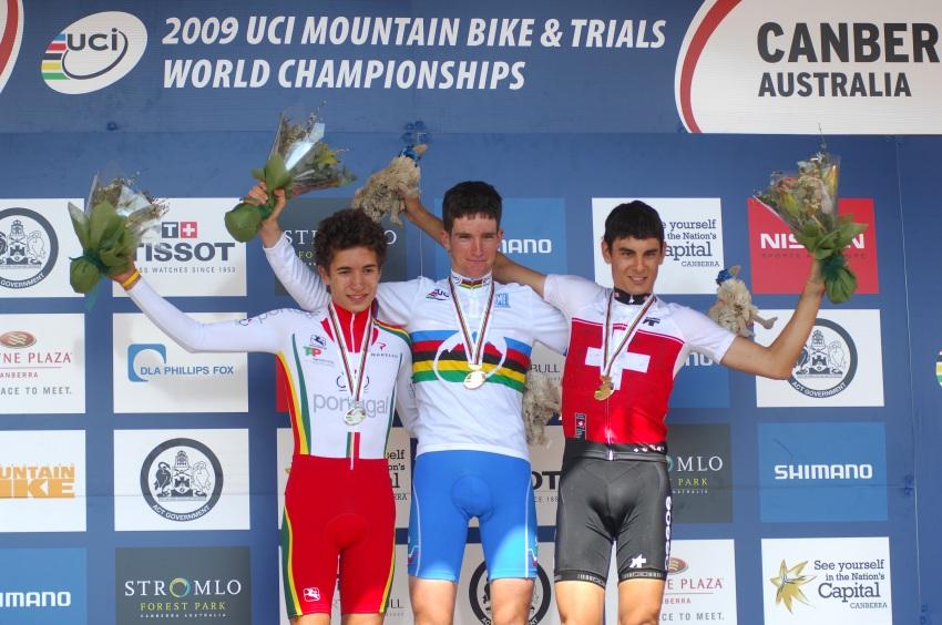 Mistrovství světa MTB XC 2009, Canberra - junioři: 1. Kerschbaumer, 2. Marinheiro, 3. Indegargang