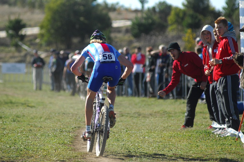 Mistrovství světa MTB XC 2009, Canberra /AUS/ - Nesvadba povzbuzovaný Milanem Spěšným