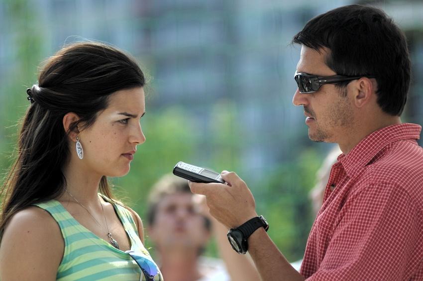 Sport Invest setkání sportovců 18.8.2009 - Tereza Huříková při rozhovoru pro MTBS