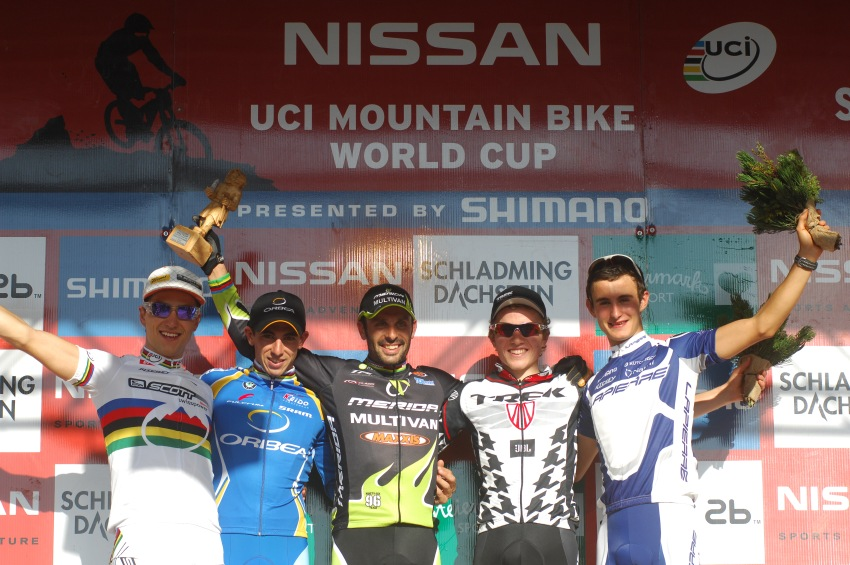 Nissan UCI světový pohár MTB #8 - Schladming 2009: 1. Hremida, 2. Ruzafa, 3. Fluckiger, 4. Schurter, 5. Vuillermoz