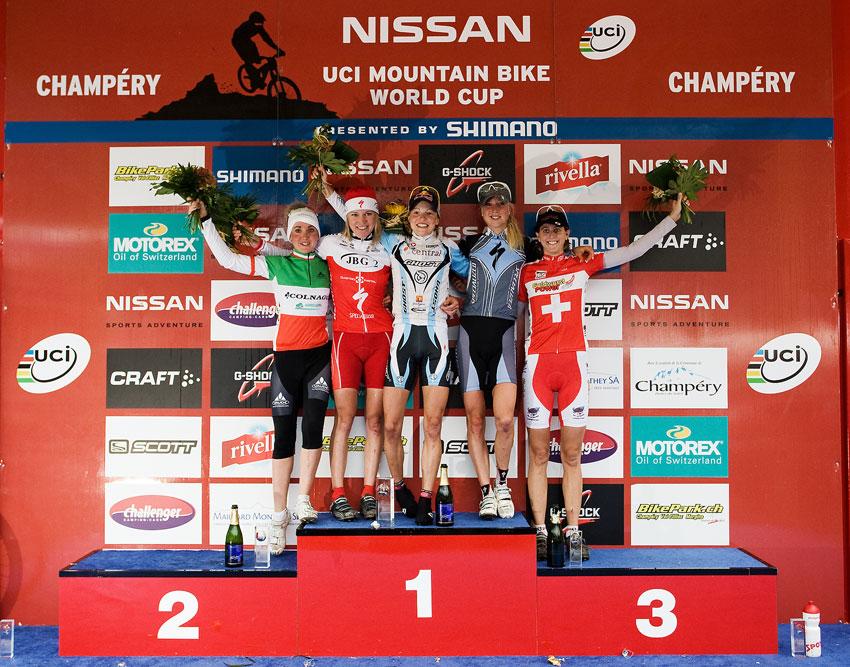 SP XCO Champéry 2009 ženy 1. Osl (AUT) 2. Szafraniec (POL) 3. Byberg (NOR) 4. Lechner (ITA) 5. Leumann (SUI)
