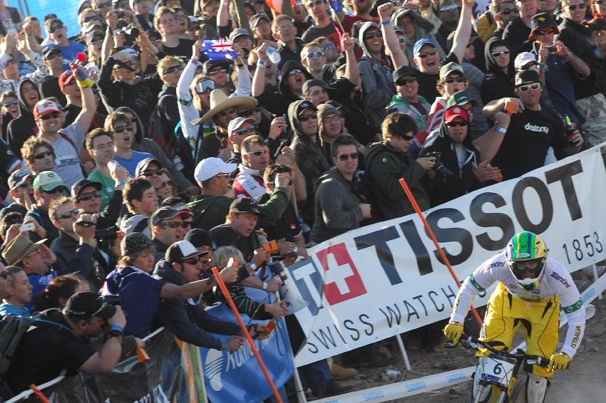 Mistrovství světa MTB DH 2009, Canberra - Mike Hannah hnán fanoušky