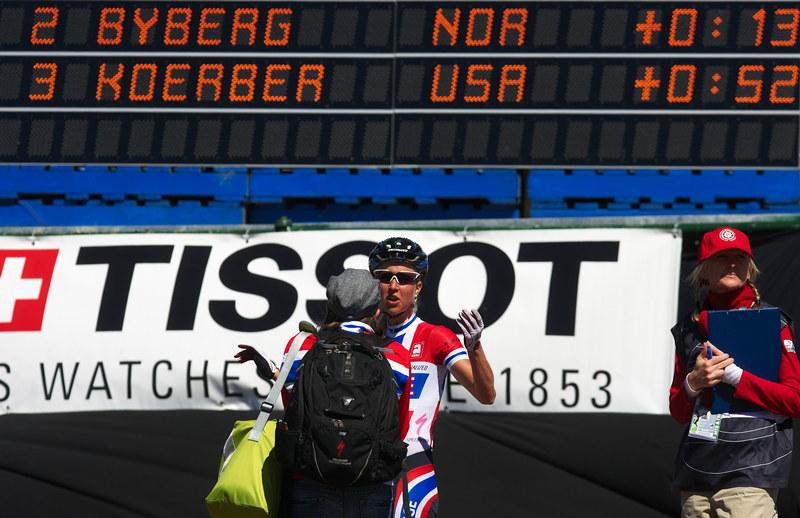 Mistrovství světa MTB XCO ženy 2009 - Canberra /AUS/ - Lene Byberg přijela do cíle a moc do smíchu jí nebylo. Stalo se něco o čem nevíme?
