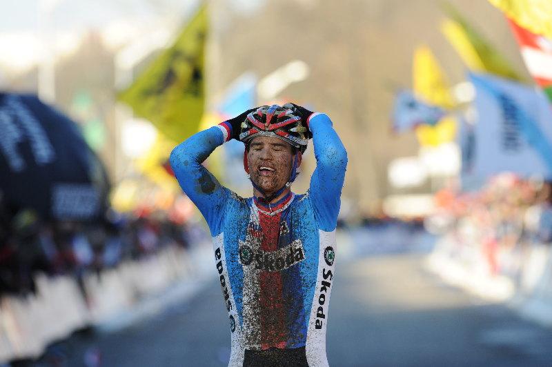 Mistrovství světa v cyklokrosu - Tábor 31.1. 2010, závod Elite - Dobojováno. Zdeněk Štybar je mistrem světa. Foto: Frank Bodenmüller