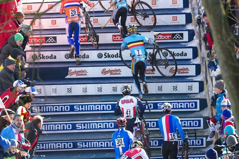 Mistrovstv� sv�ta v cyklokrosu - T�bor 31.1. 2010, z�vod Elite - Dlaskyho schody