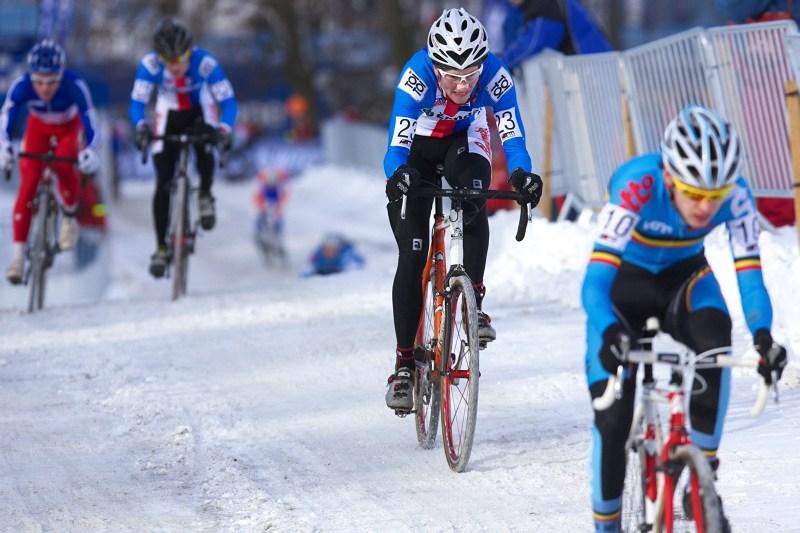 Mistrovství světa v cyklokrosu - Tábor 30.1. 2010 - Matěj Lasák a za ním Tomáš Paprstka