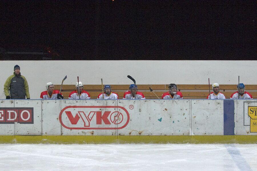 Střídačka vítězné Meridy - Cyklistický superpohár 2006 v hokeji, Mor. Třebová