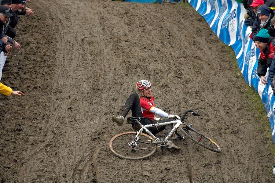 Rozhodující pád Hanky Kupfernagel - MS cyklokros 2007, Hooglede-Gits (BEL)