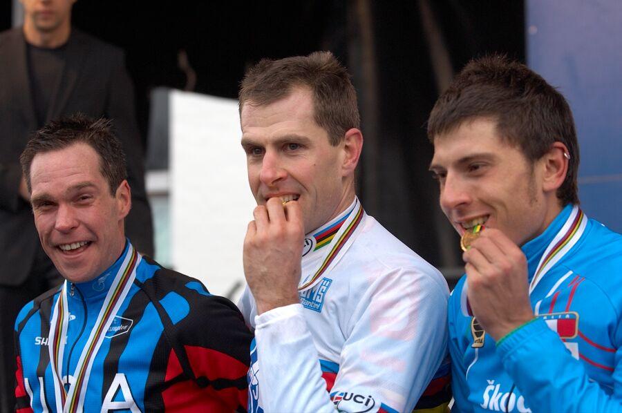 1. Erwin Vervecken, 2. Jonathan Page, 3. Enrico Franzoi - MS cyklokros 2007, Hooglede-Gits (BEL)