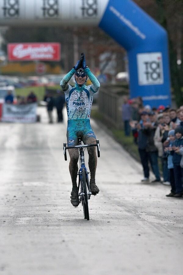 Mistrovství České republiky v cyklokrosu - 6.1. 2007 - Č. Lípa - vítězství No. 5 Petra Dlaska