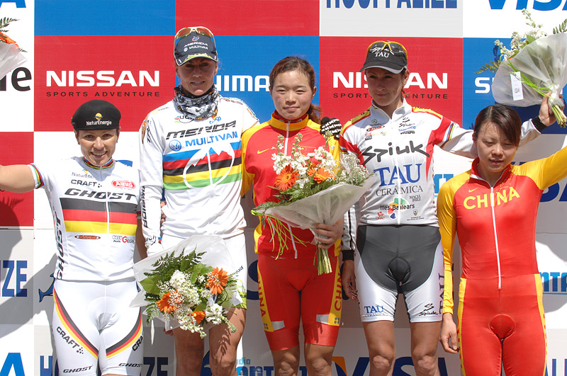 Nissan UCI MTB World Cup XC #1 Houffalize, 22.4.2007 - Spitz, Dahle, Chengyuan, Fullana a Wang, foto: Frank/www.MTBSector.com